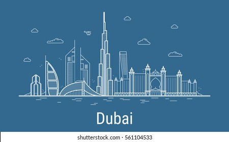 Dubai city line art Vector illustration with all famous towers. Cityscape.