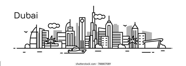 Dubai city. Modern flat line style. Vector illustration