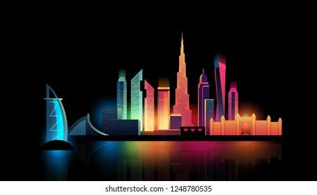 Dubai City night skyline with colorful lights. Vector illustration
