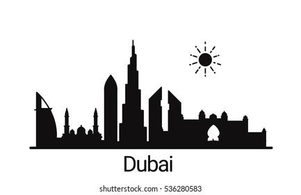 Dubai city outline skyline. All Dubai buildings - customizable objects, so you can simple change skyline composition. Minimal design.