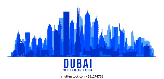 Dubai city silhouette skyline vector background.. Vector Illustration. Business travel and tourism concept with modern buildings. Image for banner or web site.