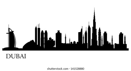 Dubai city silhouette. Vector skyline illustration