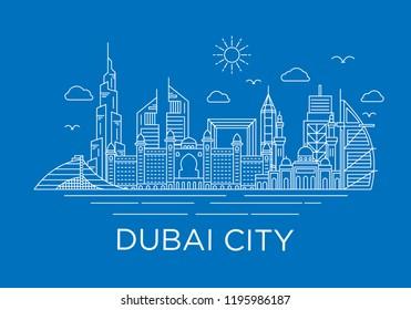 dubai city skyline background with iconic concept use for background banner and tshirt design template, uni arab emirates landmarks