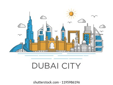 dubai city skyline background with iconic concept use for background banner and tshirt design template, uni arab emirates landmarks