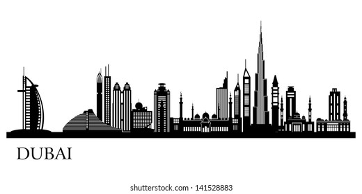 Dubai City skyline detailed silhouette. Vector illustration.