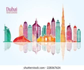 Dubai City skyline detailed silhouette.  Vector illustration