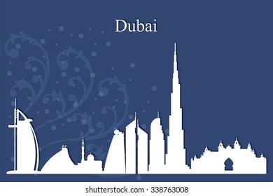 Dubai city skyline silhouetteon blue background, vector illustration