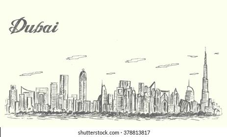 Dubai city skyline sketch style detailed,isolated, vector,illustration.