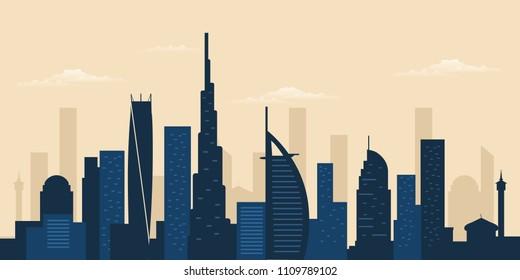 Dubai city skyline. Dubai skyscraper building silhouette
