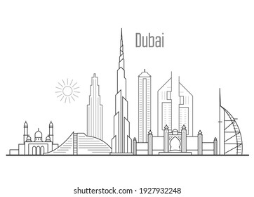 Dubai city skyline - towers and landmarks cityscape in liner style, vector