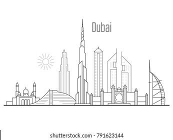 Dubai city skyline - towers and landmarks cityscape in liner style
