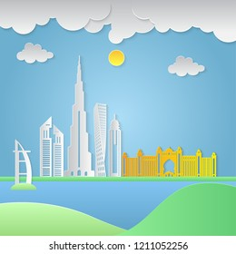 Dubai City vector. paper art and craft style
