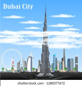 Dubai city vector structure United Arab Emirates