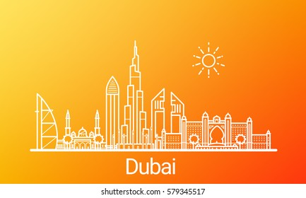 Dubai city white line on colorful background. All Dubai buildings - customizable objects with opacity mask, so you can simple change composition and background. Line art.