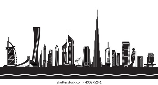 Dubai cityscape by day - vector illustration