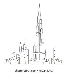 Dubai cityscape isolated on white background, Vector illustration