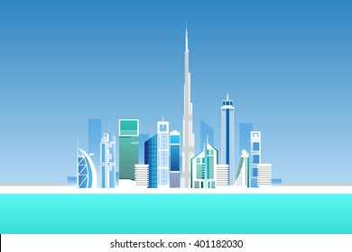 Dubai cityscape with skyscrapers and landmarks vector illustration