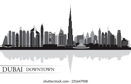 Dubai Downtown City skyline silhouette background, vector illustration