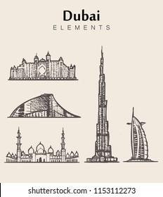 Dubai elements hand drawn style.Dubai vector illsutration Burj Khalifa,al arab,Atlantis hotels.Jumeirah beach hotel.Arab Emirates.