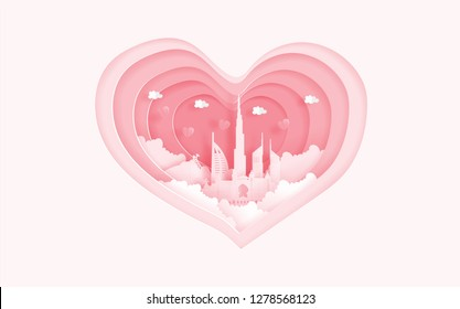 Dubai famous landmarks in love concept with heart shape. Valentine's card and travel advertising for couple. Paper cut style vector illustration.