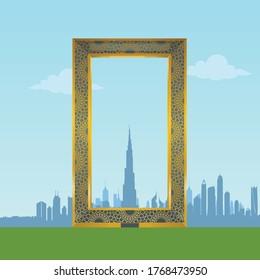Dubai Frame Landmark Skyline view