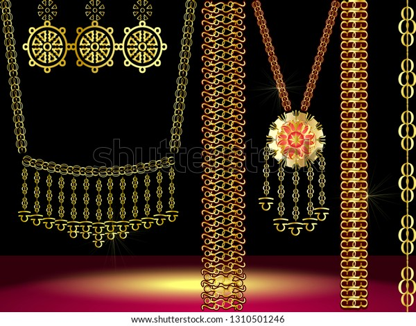 Dubai Gold Souksouth Indian Bridal Jewelleryvector Stock