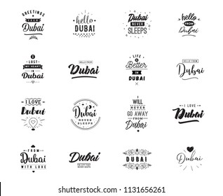 Dubai. Greeting cards, vector design. Isolated logos. Typography set.
