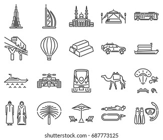 Dubai icons line sets. Adventure desert safari, bus city tour, yacht, hot air balloon, mosque, culture, transportation, beach, diving, camp desert, gold souk, skyline.