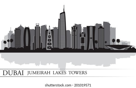 Dubai Jumeirah Lakes Towers skyline silhouette background, City illustration