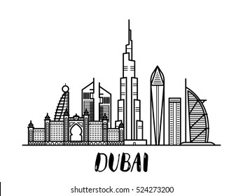 Dubai landscape line art illustration with modern lettering rectangular composition.