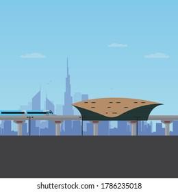 Dubai Metro Station train and skyline