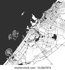Dubai Monochrome Map Artprint, Vector Outline Version, ready for color change, Separated On White