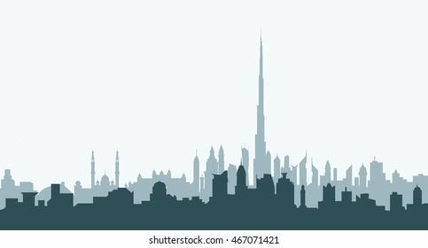 Dubai Morning City Skyline - Vector