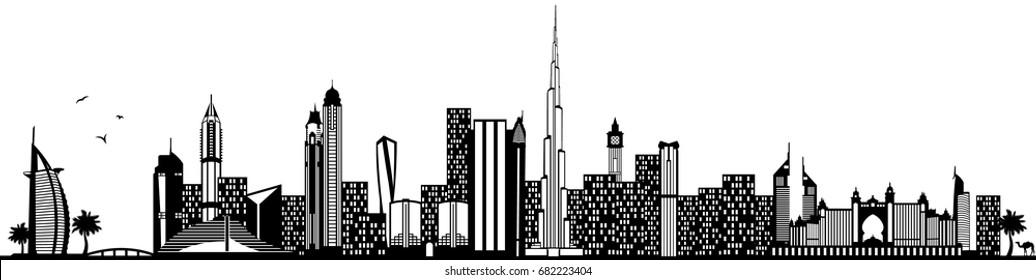 Dubai skyline black