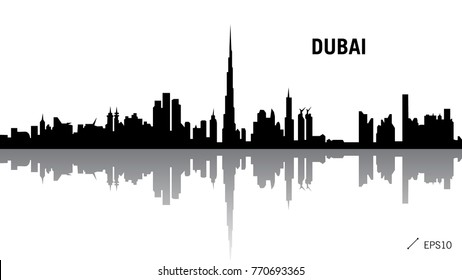 Dubai skyline black silhouette isolated on white background with reflection. Vector illustration editable simple flat concept for tourism presentation, banner, postcard or website.