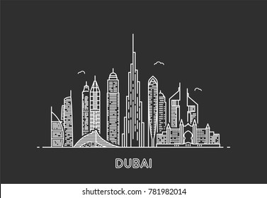 Dubai skyline. City and tourism background. Line art style illustration