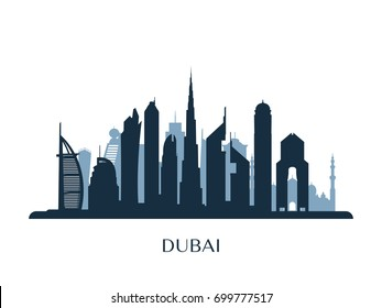 Dubai skyline, monochrome silhouette. Vector illustration.