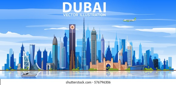Dubai skyline with panorama in sky background. Vector Illustration. Business travel and tourism concept with modern buildings. Image for banner or web site.