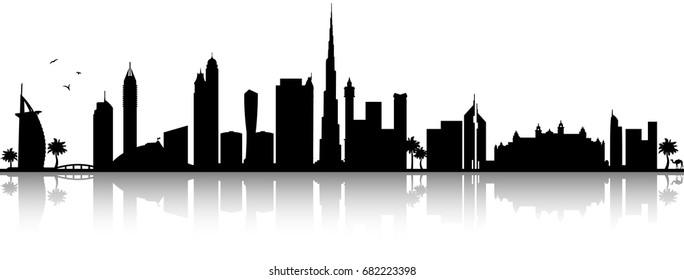 Dubai skyline silhouette black