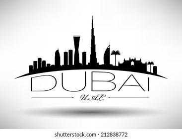 Dubai Skyline with Typography Design