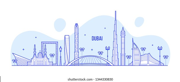 Dubai skyline, United Arab Emirates, UAE. This illustration represents the city with its most notable buildings. Vector is fully editable, every object is holistic and movable