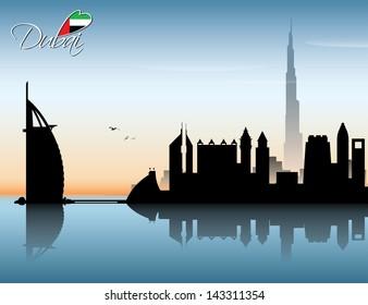 Dubai skyline - vector illustration