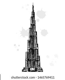 Dubai, UAE - 02.07.2019: Hand drawn sketch style Burj Khalifa (Burj Dubai) skyscraper. Vector illustration isolated on white background.