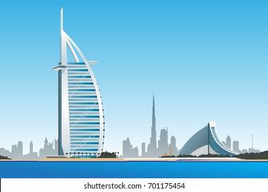Dubai, UAE - August 22, 2017: vector illustration of Burj Al Arab hotel. Burj Al Arab is UAE landmark, and one of the world's most luxurious hotels. Vector made on August 22, 2017