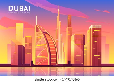 Dubai, UAE city view. United Arab Emirates cityscape architecture background, modern megapolis skyline with futuristic buildings reflecting at Persian Gulf waterfront. Cartoon vector illustration