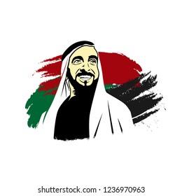 Dubai, UAE - December 2, 2018. Text Arabic Translation: Year of Zayed, Founder of UAE. Syeikh Zayed bin Sultan Al Nahyan. Vector Logo. Eps 08.