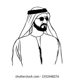 Dubai, UAE - December 2, 2019. Sheikh Mohammed bin Rashid Al Maktoum. Ruler of Dubai. Hand Drawn. Vector Logo.