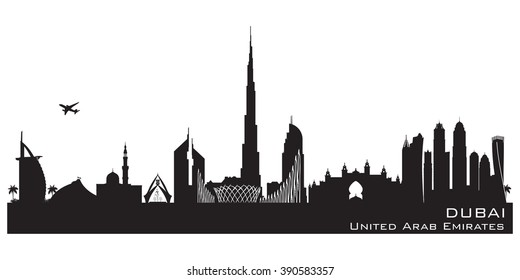 Dubai UAE skyline Detailed vector silhouette