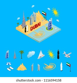 Dubai UAE Travel and Tourism Concept and Parts 3d Isometric View Include of Skyscraper Building, Tower, Desert and People in National Dress. Vector illustration