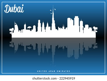 Dubai, United Arab Emirates, skyline silhouette vector design on parliament blue and black background.